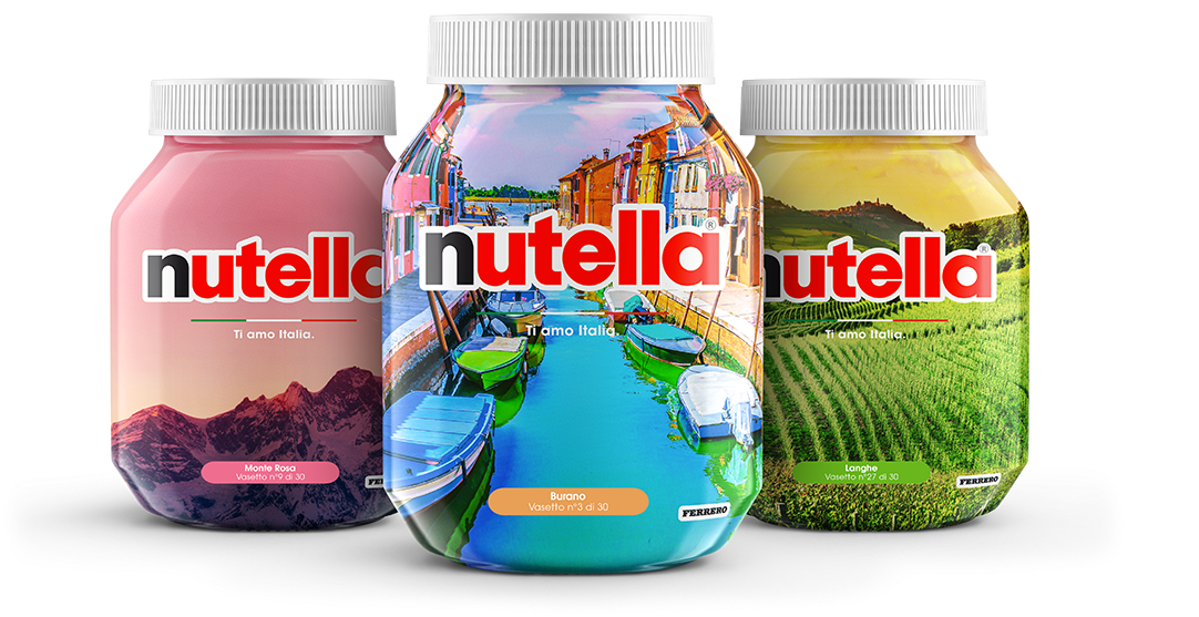 Nutella Ti amo Italia 725g glass jar made in Italy