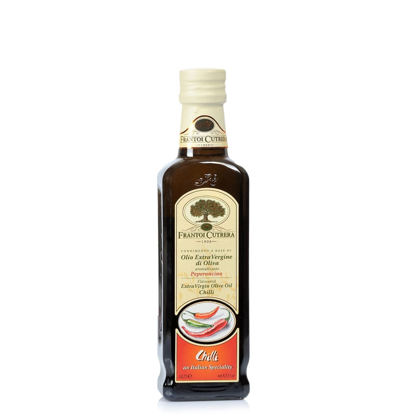 Frantoi Cutrera Extra Virgin olive oil flavoured with chili peppers. 250ml