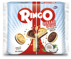 Ringo with crispy cereals and coconut cream