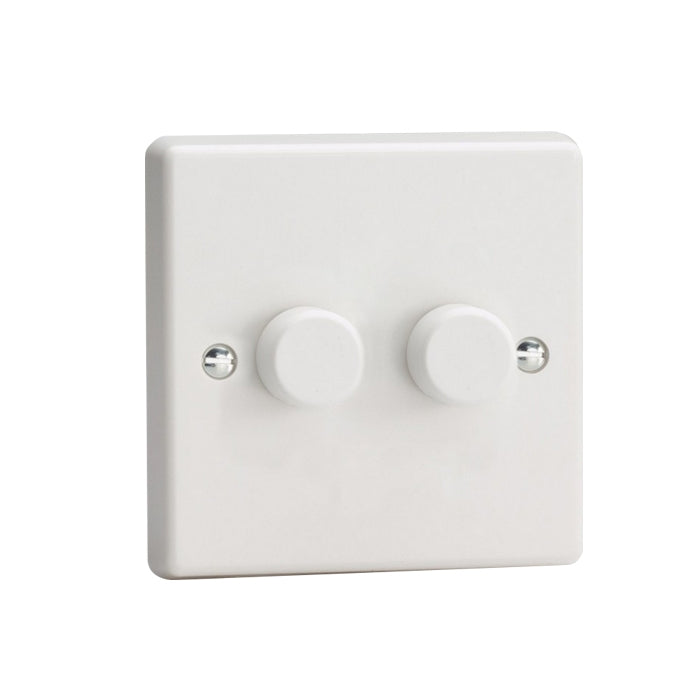 Varilight V-Pro LED Dimmer Switch - 2 Gang 2 Way - White