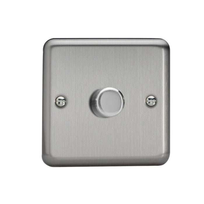 Varilight V-Pro LED Dimmer Switch - 1 Gang 2 Way - Brushed Metal