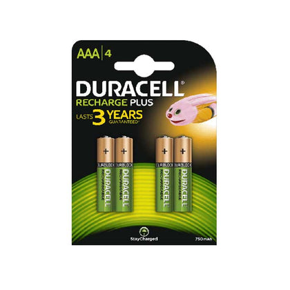 Duracell Recharge Plus AAA Batteries - Rechargeable - 4 Pack