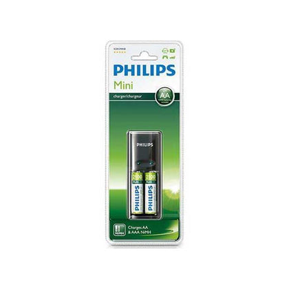 Philips Mini Battery Charger - Batteries Included