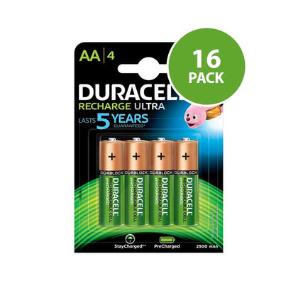 Duracell Recharge Ultra AA Batteries - Rechargeable - 16 Pack