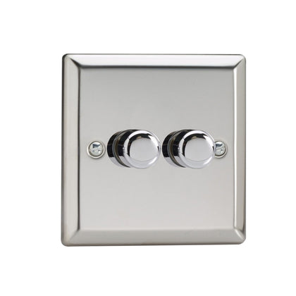 Varilight V-Pro LED Dimmer Switch - 2 Gang 2 Way - Chrome