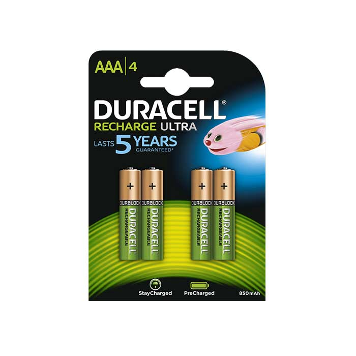 Duracell Recharge Ultra AAA Batteries - Rechargeable - 4 Pack