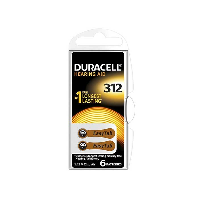 Duracell Easytab Hearing Aid ZA312 Batteries - 2 Pack