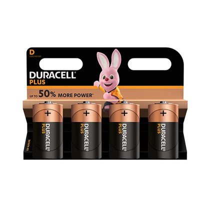 Duracell Plus Power D Batteries - 4 Pack
