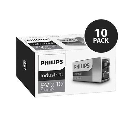 Philips Alkaline Industrial 9V Batteries - 10 Pack