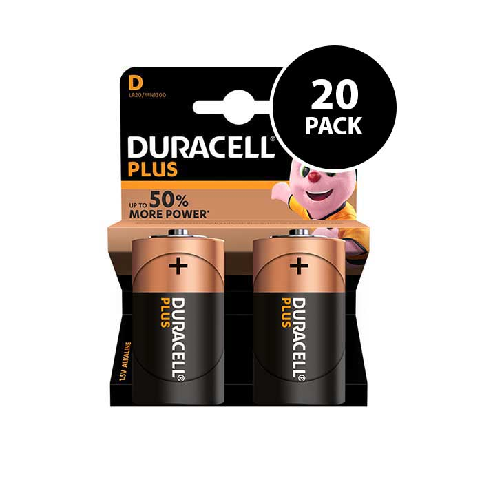 Duracell Plus Power D Batteries - 20 Pack