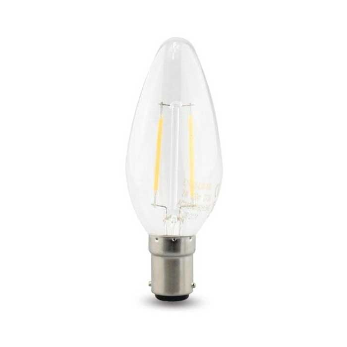4W B15 Candle Filament LED - 400lm - 2700K - Clear - Dimmable