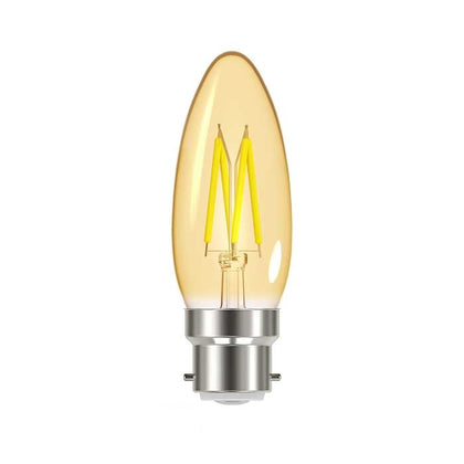 4.8W B22 Candle Filament LED - 300lm - 2000K - Amber - Dimmable