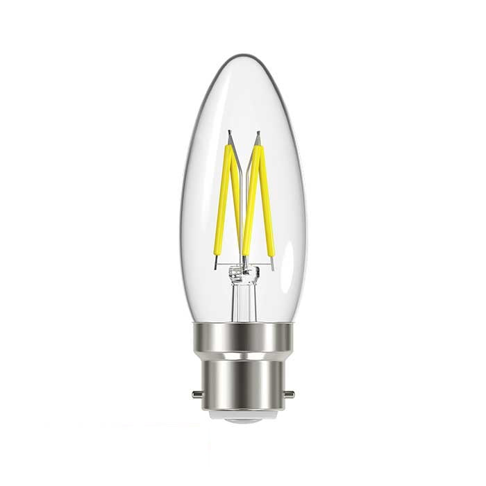 4.8W B22 Candle Filament LED - 450lm - 2700K - Clear - Dimmable