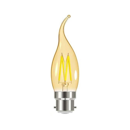4.8W B22 Flame Tip Filament LED - 300lm - 2000K - Amber - Dimmable