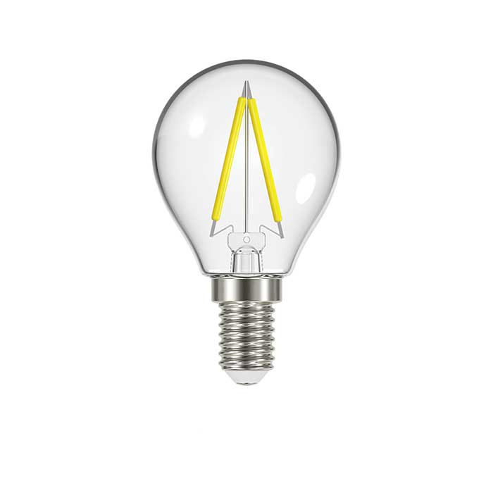 2.3W E14 Golf Filament LED - 250lm - 2700K - Clear - Non Dimmable
