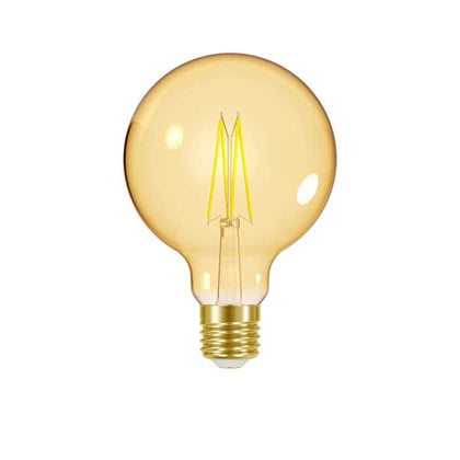 7.5W E27 Large Globe Filament LED - 600lm - 2000K - Amber - Dimmable
