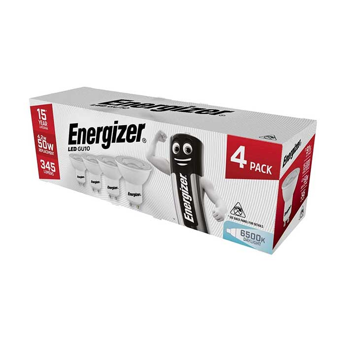 Energizer 4.2W GU10 LED - 345lm - 6500K - Non Dimmable - 4 Pack