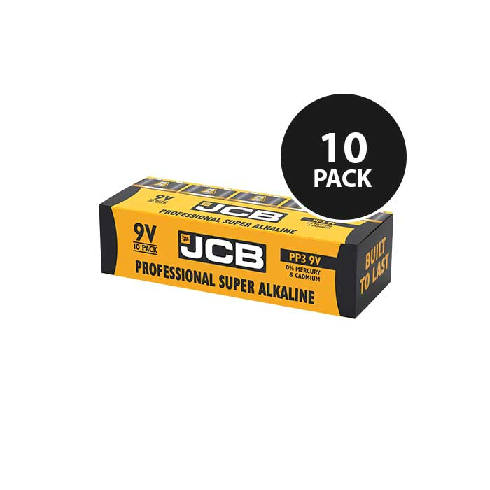 JCB Super Alkaline Industrial 9V Batteries - 10 Pack