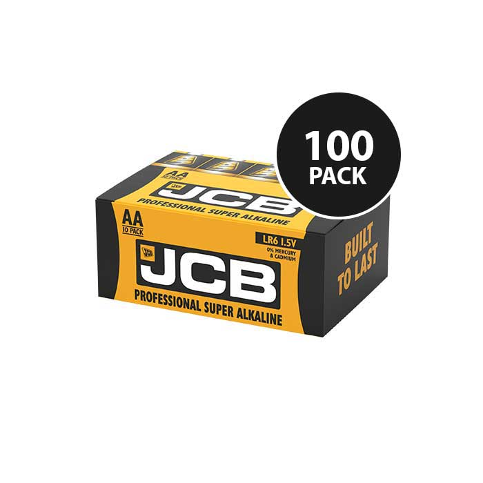 JCB Super Alkaline Industrial AA Batteries - 100 Pack
