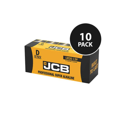 JCB Super Alkaline Industrial D Batteries - 10 Pack