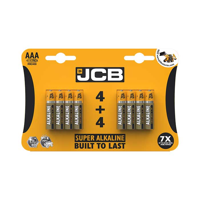 JCB Super Alkaline AAA Batteries - 8 Pack