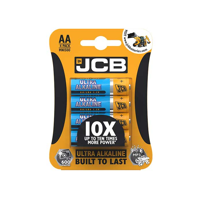 JCB Ultra Alkaline AA Batteries - 4 Pack