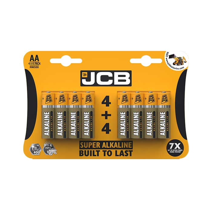 JCB Super Alkaline AA Batteries - 8 Pack