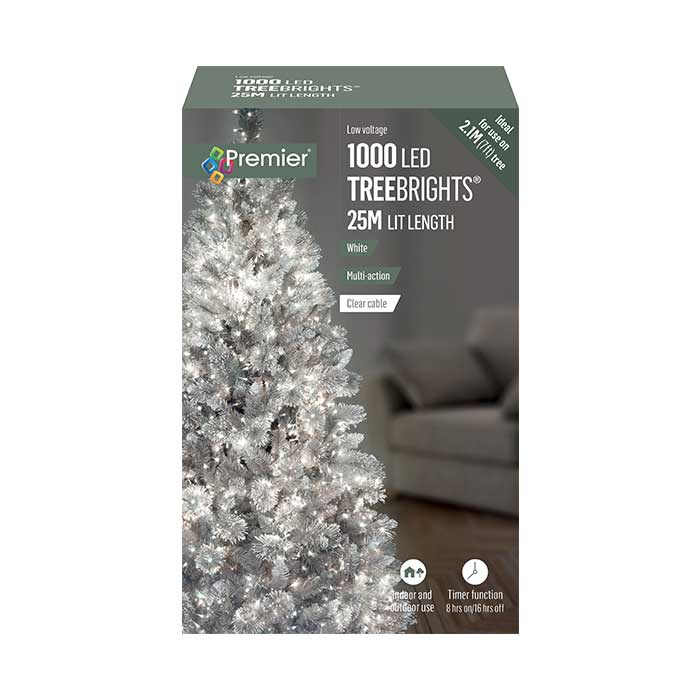 TreeBright Lights (Timer) - 25M - Multifunction - White - 1000 LEDs
