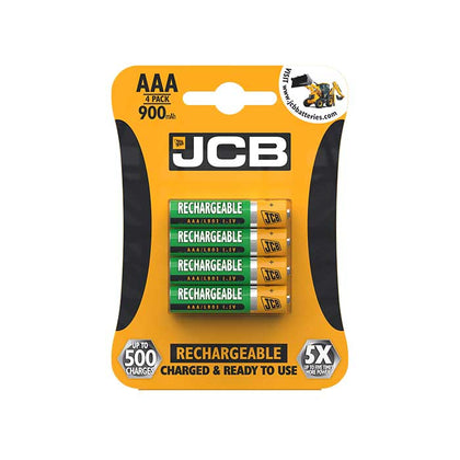 JCB AAA Batteries - 900mAh Rechargeable - 4 Pack