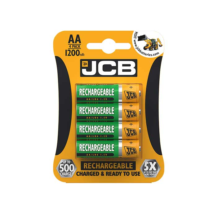 JCB AA Batteries - 1200mAh Rechargeable - 4 Pack