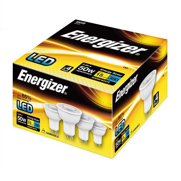 Energizer 5W GU10 LED - 380lm - 3000K - Dimmable - 4 Pack