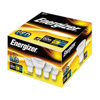 Energizer 5W GU10 LED - 380lm - 6500K - Dimmable - 4 Pack