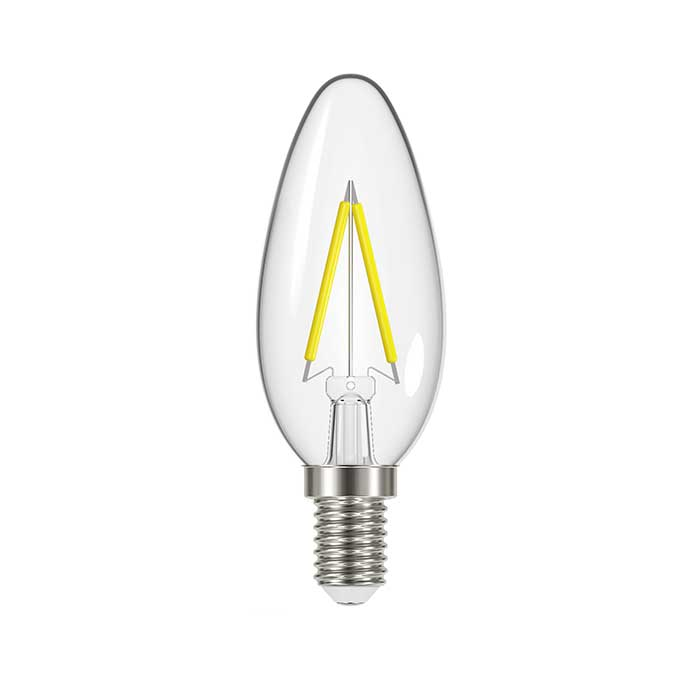 Energizer 2.4W E14 Candle Filament LED - 250lm - 2700K - Clear - Non Dimmable