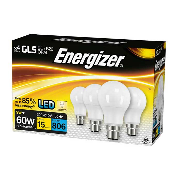 Energizer 9W B22 GLS LED - 806lm - 2700K - Non Dimmable - 4 Pack
