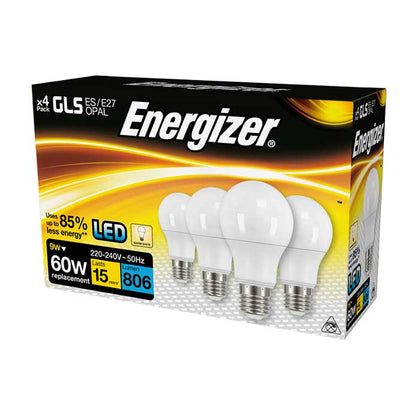 Energizer 9W E27 GLS LED - 806lm - 2700K - Non Dimmable - 4 Pack