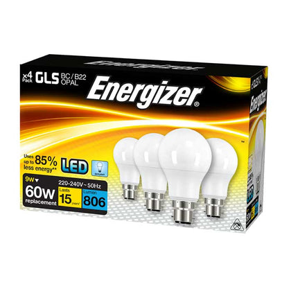 Energizer 9.2W B22 GLS LED - 60W Replacement - 806lm - 6500K - Non Dimmable