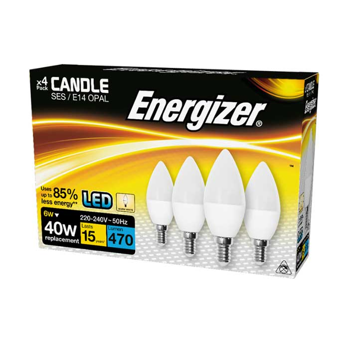 Energizer 6W E14 Candle LED - 470lm - 2700K - Non Dimmable - 4 Pack