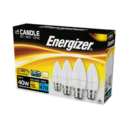 Energizer 6W B22 Candle LED - 470lm - 2700K - Non Dimmable - 4 Pack