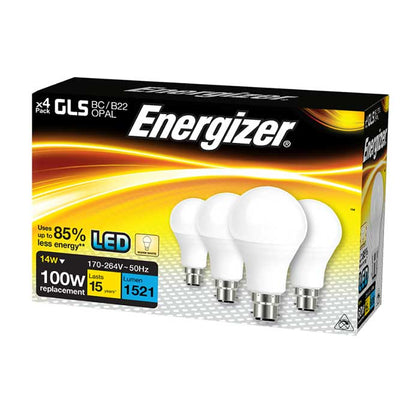 Energizer 14W B22 GLS LED - 1521lm - 2700K - Non Dimmable - 4 Pack
