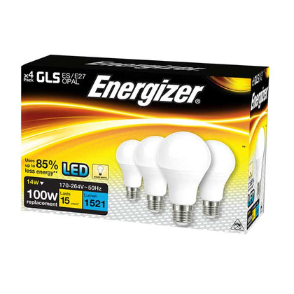Energizer 14W E27 GLS LED - 1521lm - 2700K - Non Dimmable - 4 Pack