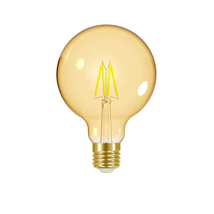 Energizer 5.5W E27 Globe Filament LED - 470lm - 2200K - Gold - Dimmable