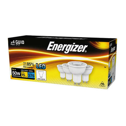 Energizer 4.2W GU10 LED - 345lm - 4000K - Non Dimmable - 4 Pack