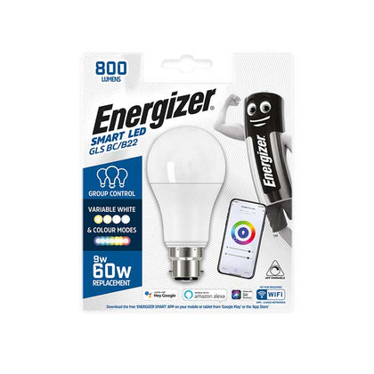 Energizer 9W B22 GLS Smart Bulb - Colour Changing - WiFi Compatible