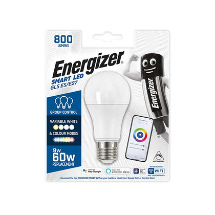 Energizer 9W E27 GLS Smart Bulb - Colour Changing - WiFi Compatible