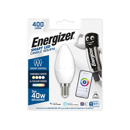 Energizer 5W E14 Candle Smart Bulb - Colour Changing - WiFi Compatible