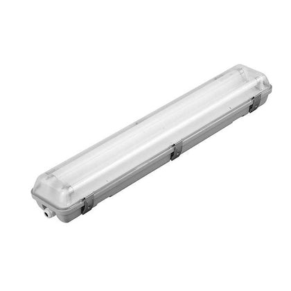 Tube Light Fitting - 2ft (600mm) - PC Body & Diffuser - Twin