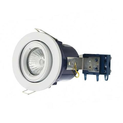 Electralite GU10 Tilted Spotlight Fitting - IP20 - White