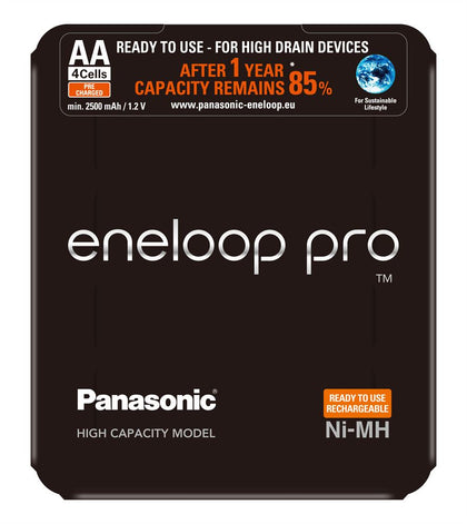 Panasonic Eneloop Pro AA 2500mAh Batteries - Slider Pack of 4
