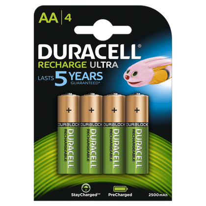 Duracell Recharge Ultra AA 2500mAh Rechargeable Battery Pack of 4