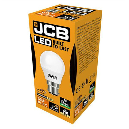 JCB LED B22 3W Golf Ball Bulb - Warm White
